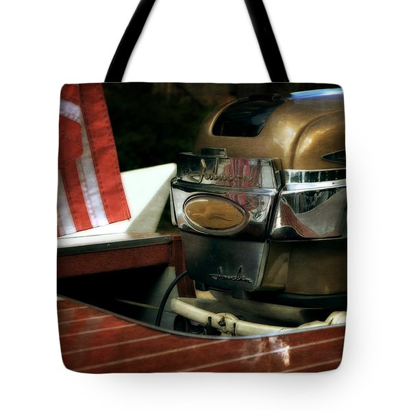 Chris Craft With Johnson Motor Tote Bag by Michelle Calkins