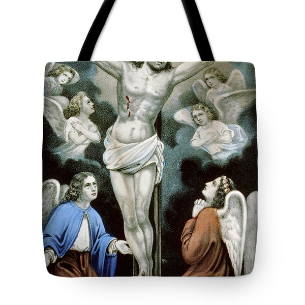 Christ And The Angels Circa 1856 Tote Bag by Aged Pixel