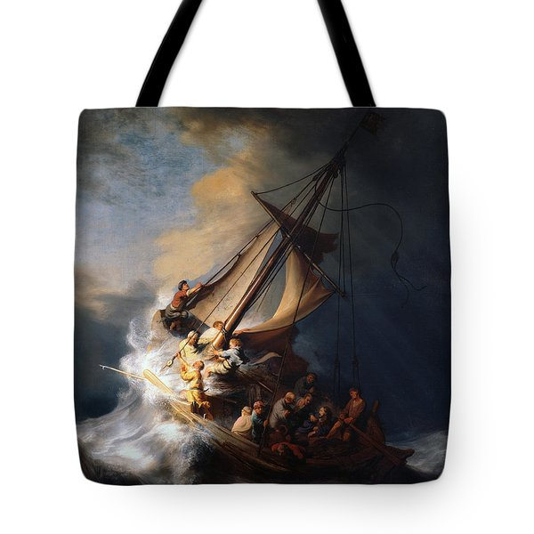 Christ And The Storm Tote Bag