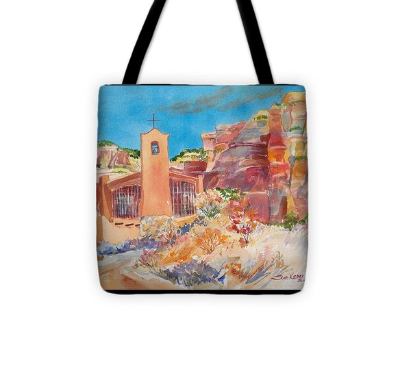 Christ In The Desert Monastery Tote Bag by Sue Kemp