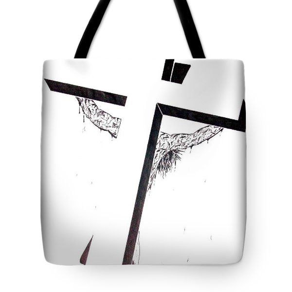 Christ On Cross Tote Bag by Justin Moore