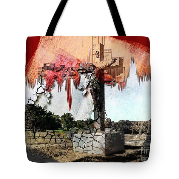 Christ On The Cross Tote Bag by Liane Wright