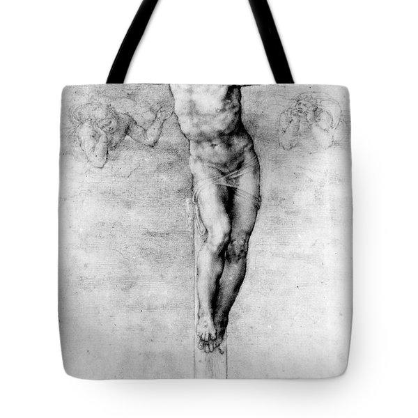 Christ On The Cross Tote Bag by Michelangelo Buonarroti