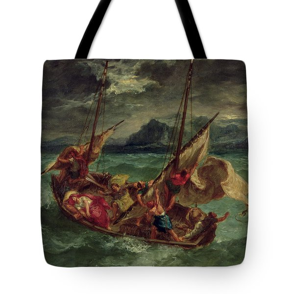 Christ On The Sea Of Galilee Tote Bag by Delacroix