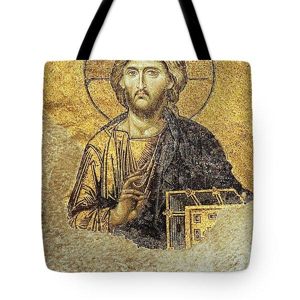 Christ Pantocrator-detail Of Deesis Mosaic Hagia Sophia-judgement Day Tote Bag