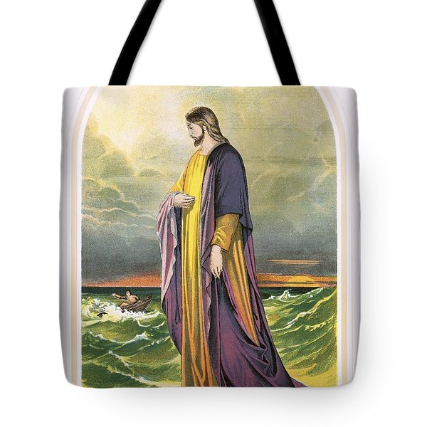 Christ Walking On The Sea Tote Bag by English School