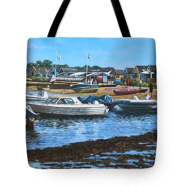 Christchurch Hengistbury Head Beach With Boats Tote Bag by Martin Davey