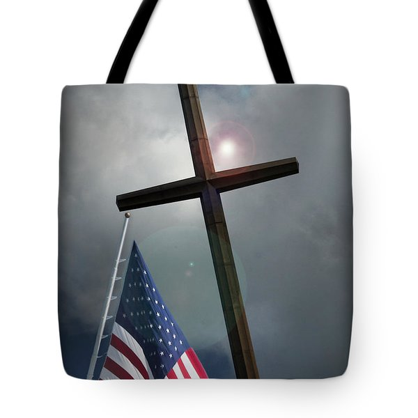 Christian Cross And Us Flag Tote Bag