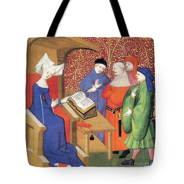 Christine De Pizan Lecturing To Men Tote Bag by Photo Researchers