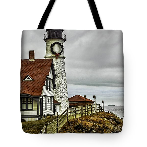 Christmas At Portland Head Light Tote Bag