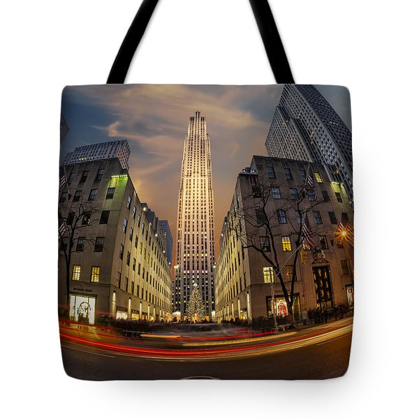 Christmas At Rockefeller Center Tote Bag by Susan Candelario