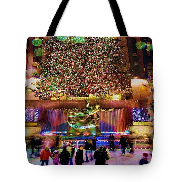 Tote Bag featuring the photograph Christmas At The Rock by Chris Lord