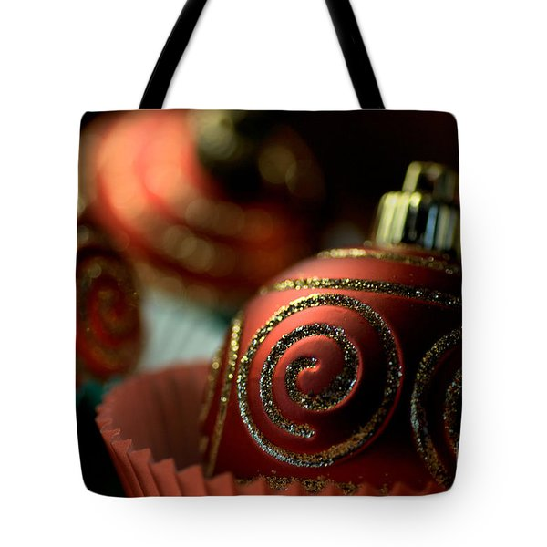 Christmas Bauble Cupcakes Tote Bag by Joy Watson