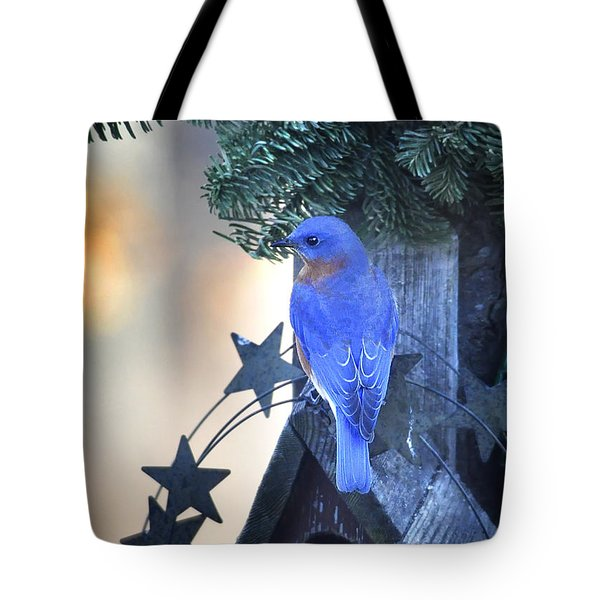 Christmas Bluebird Tote Bag