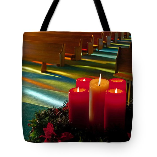 Tote Bag featuring the photograph Christmas Candles At Church Art Prints by Valerie Garner