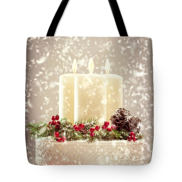 Christmas Candles Tote Bag by Amanda Elwell