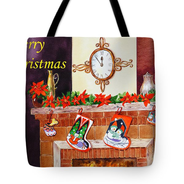 Christmas Card Tote Bag by Irina Sztukowski
