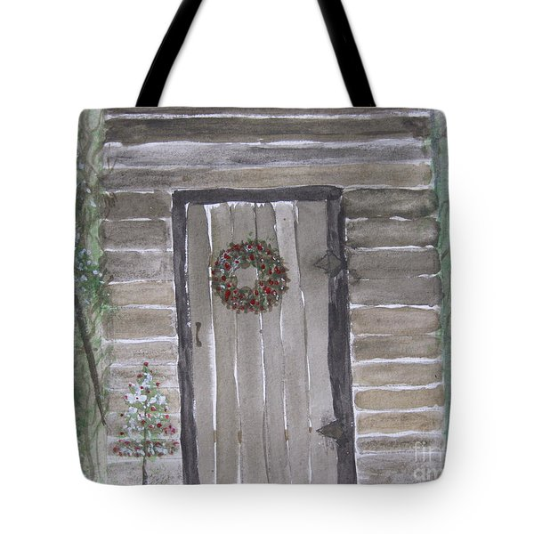 Christmas Card No.3 Rustic Cabin Tote Bag