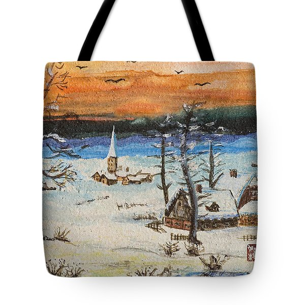 Tote Bag featuring the painting Christmas Card Painting by Peter v Quenter