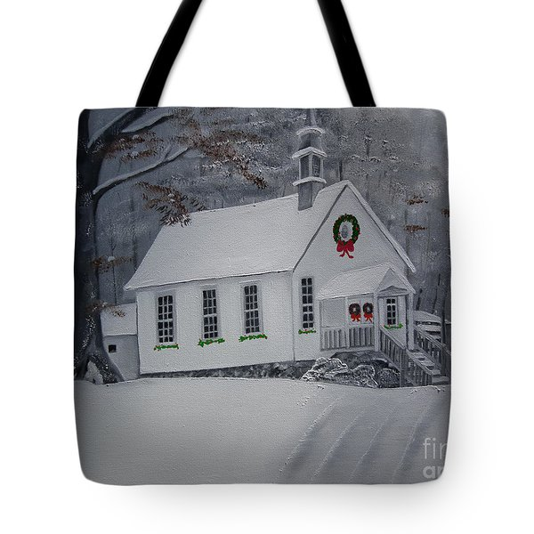 Christmas Card - Snow - Gates Chapel Tote Bag by Jan Dappen