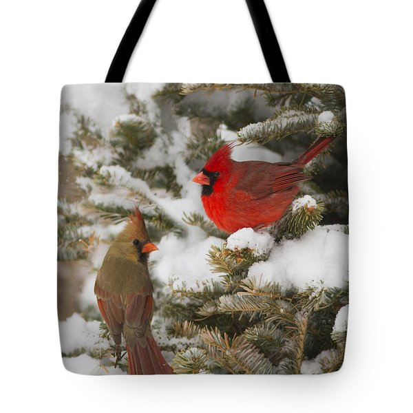 Christmas Card With Cardinals Tote Bag by Mircea Costina Photography