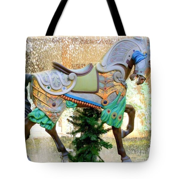 Christmas Carousel Warrior Horse-1 Tote Bag by Mary Deal