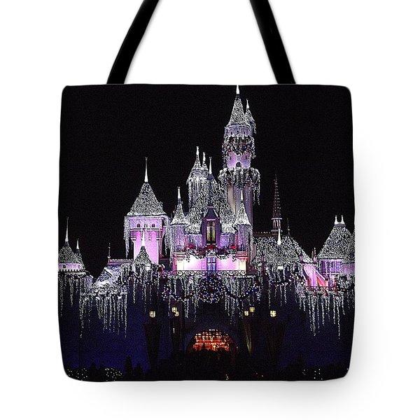 Christmas Castle Night Tote Bag by Nadalyn Larsen