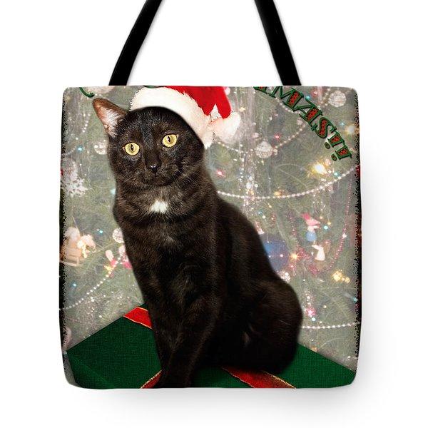 Christmas Cat Tote Bag by Adam Romanowicz