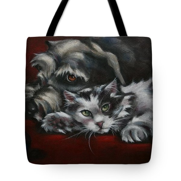 Tote Bag featuring the painting Christmas Companions by Cynthia House