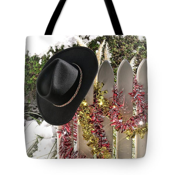 Christmas Cowboy Hat On A Fence Tote Bag