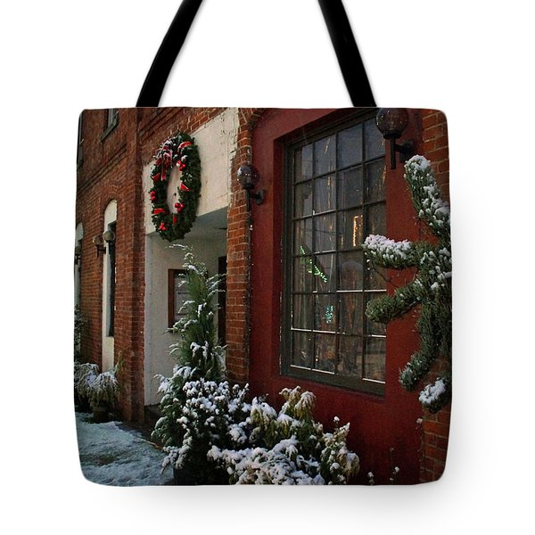 Christmas Decorations In Grants Pass Old Town  Tote Bag by Mick Anderson
