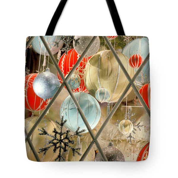 Christmas Decorations In Window Tote Bag
