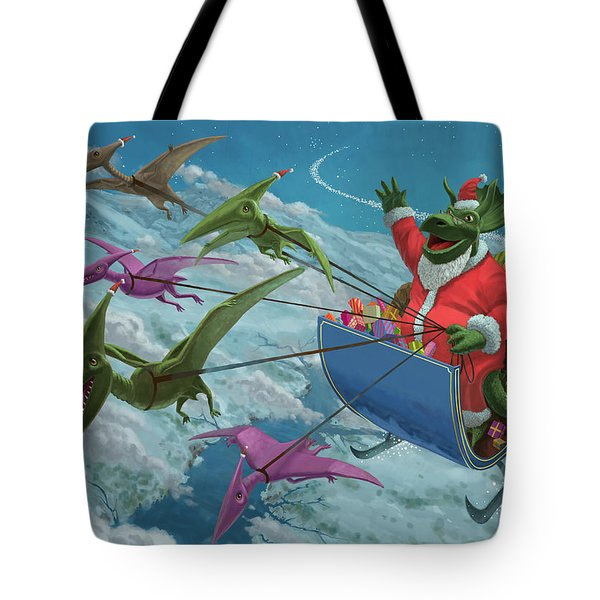 Christmas Dinosaur Santa Ride Tote Bag