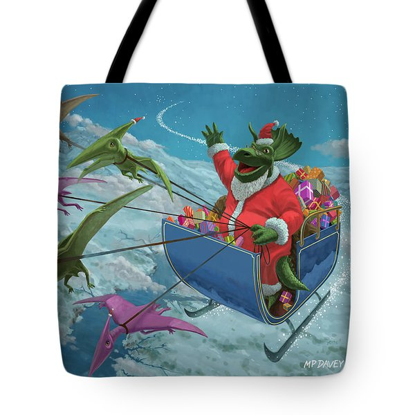 Christmas Dinosaur Santa Ride Tote Bag by Martin Davey