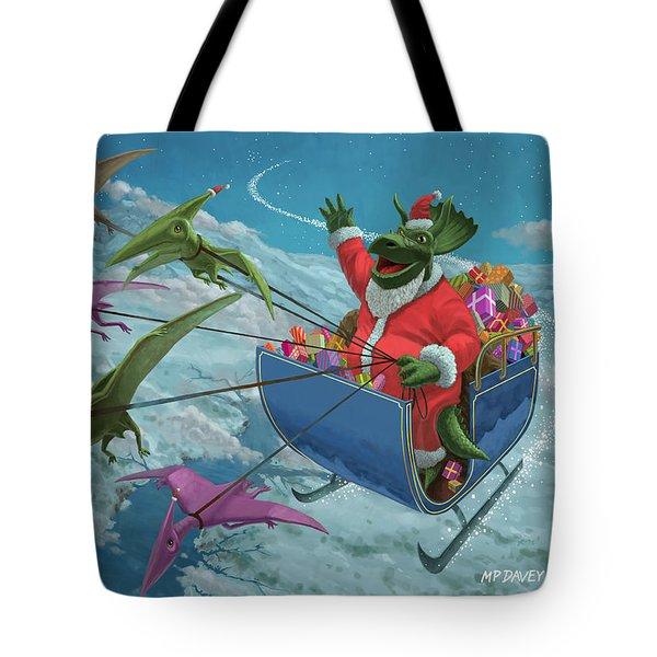 Christmas Dinosaur Santa Ride Tote Bag