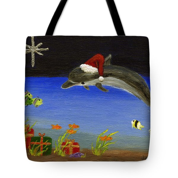 Christmas Dolphin And Friends Tote Bag by Jamie Frier
