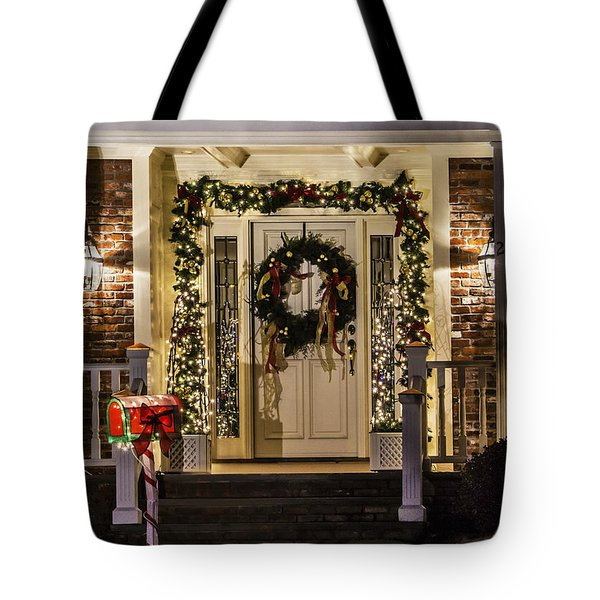 Tote Bag featuring the photograph Christmas Door 1 by Betty Denise