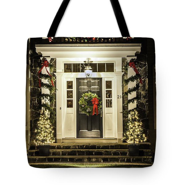 Tote Bag featuring the photograph Christmas Door 2 by Betty Denise