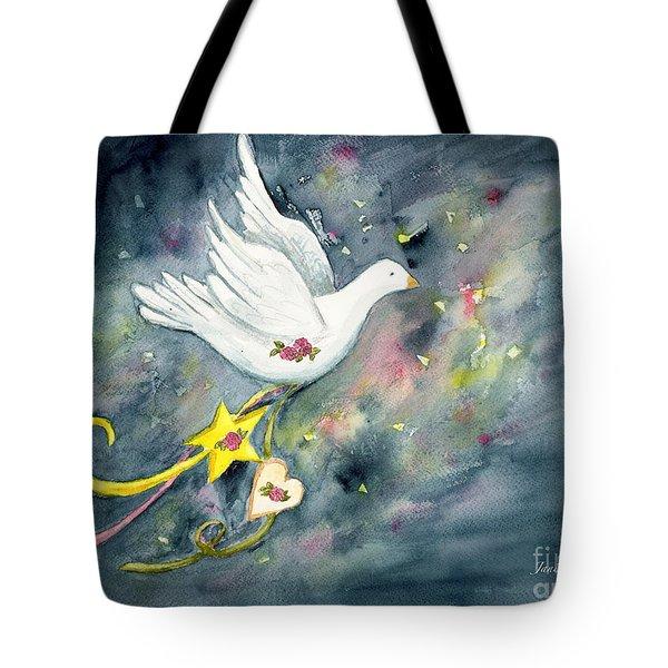 Christmas Dove In Flight Tote Bag