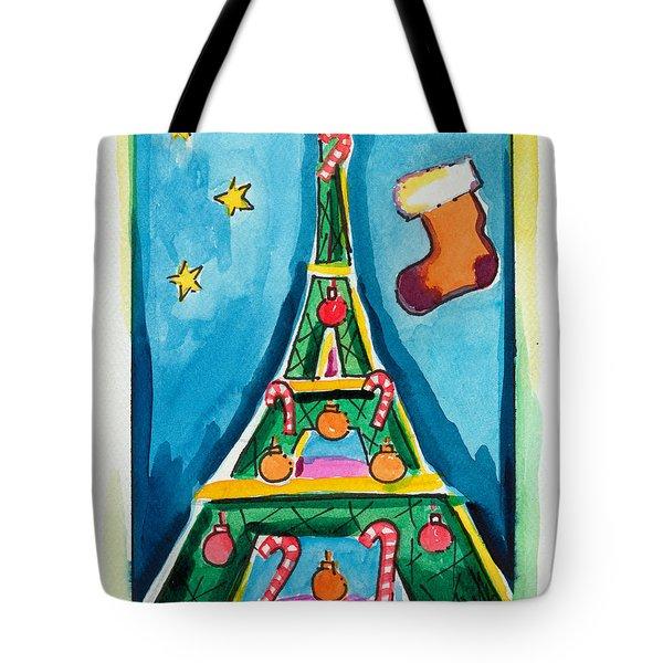 Christmas Eiffel Tower Painting Tote Bag