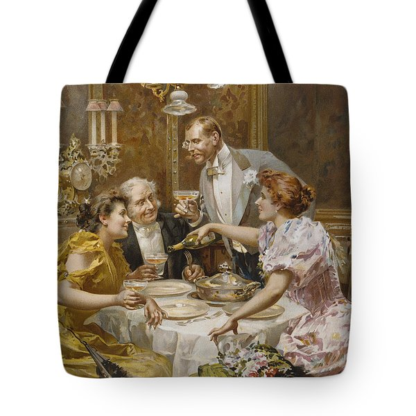 Christmas Eve Dinner In The Private Dining Room Of A Great Restaurant Tote Bag by Ludovico Marchetti