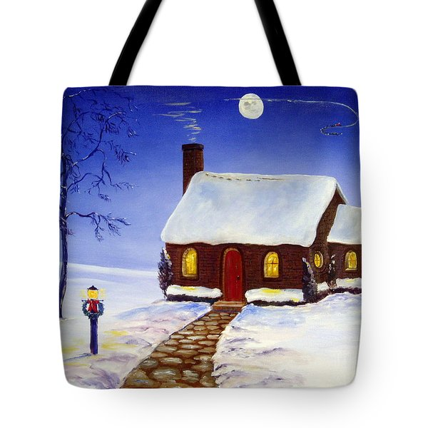 Tote Bag featuring the painting Christmas Eve by Lee Piper