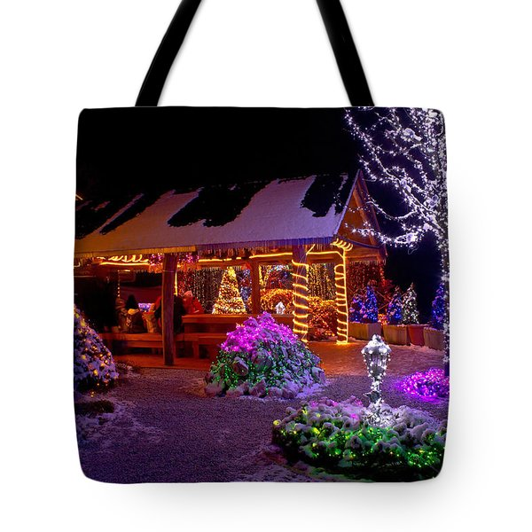 Christmas Fantasy Lodge And Tree Lights Tote Bag