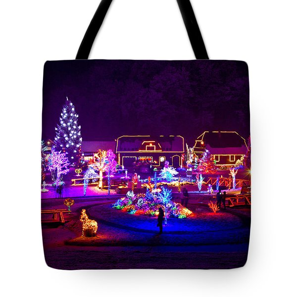 Christmas Fantasy Trees And Houses In Lights Tote Bag by Brch Photography