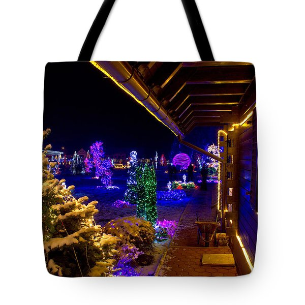 Christmas Fantasy Trees And Wooden House In Lights Tote Bag by Brch Photography