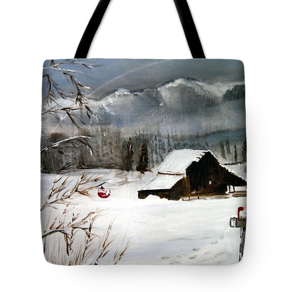 Christmas Farm House Tote Bag