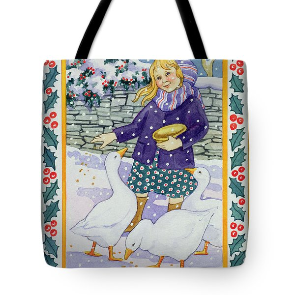 Christmas Geese Tote Bag by Lavinia Hamer