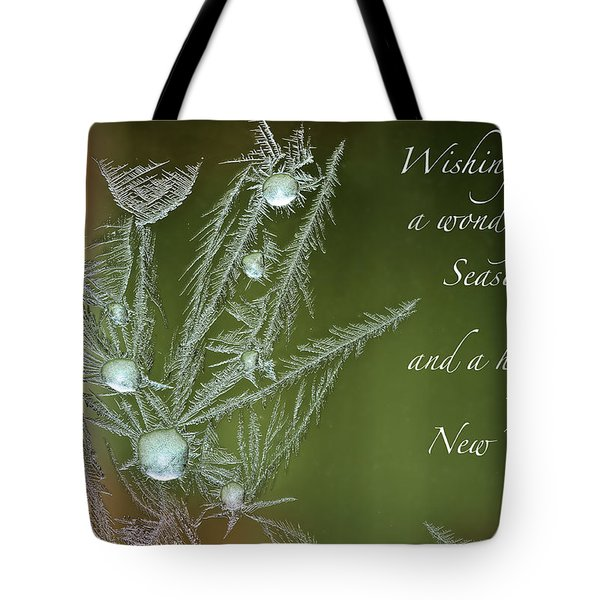 Tote Bag featuring the mixed media Christmas Greeting Card Ice Flowers by Peter v Quenter