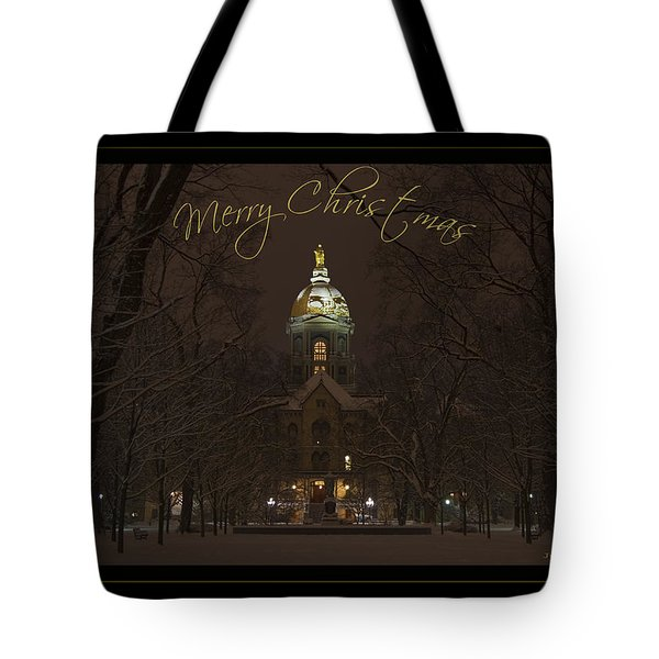 Christmas Greeting Card Notre Dame Golden Dome In Night Sky And Snow Tote Bag