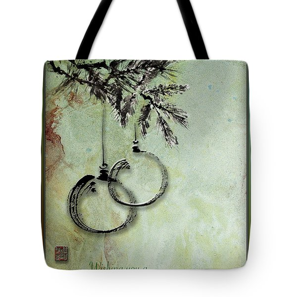 Tote Bag featuring the painting Christmas Greeting Card With Ink Brush Drawing by Peter v Quenter